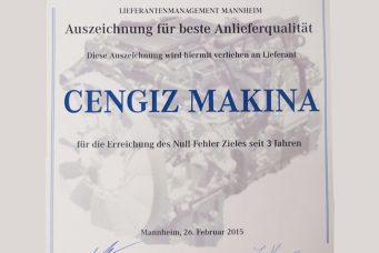 Daimler Benz 颁发的最佳质量奖