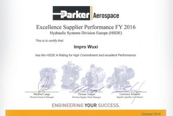 Parker Aerospace德国分部颁发的A类优质供应商奖
