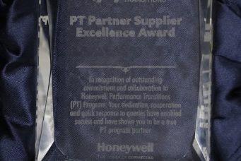 Honeywell颁发的PT项目卓越合作伙伴供应商奖