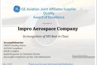 GE航空子公司颁发的供应商质量卓越奖